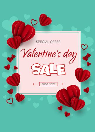 ale banner illustration of love and valentine day. Red hearts on a green background. Happy Valentine's Day vertical banner. Vector illustration. Holiday brochure design for corporate greeting cards, love creative concept, gift voucher, invitation. Place for your text. Archivio Fotografico - 136989742
