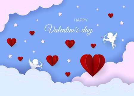 Valentine's day concept. Valentine's day banner, clouds in the sky, stars, angels, red hearts. Heart origami mobile. Archivio Fotografico - 137063689