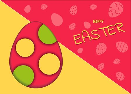 Modern Happy Easter festive greeting card with speech bubble egg, vector background Archivio Fotografico - 137138785