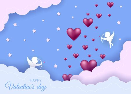 Valentines day concept. Valentines day banner, clouds in the sky, stars, angels, red hearts. Heart origami mobile. Archivio Fotografico - 137139271