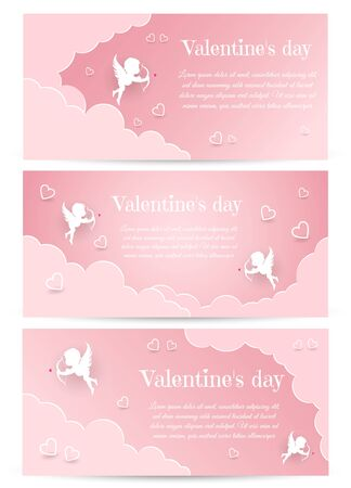 Valentines Day card design set. Cupid silhouette with bow and arrow. Pink white heart background. Flying Angel. Amur symbol of love for Valentines Day Archivio Fotografico - 137139117
