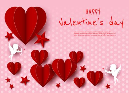 Valentines day, red card, hearts and angels, place for text, paper style Archivio Fotografico - 137149775