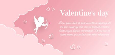 Valentine's day concept. Valentine's day banner, clouds in the sky, angels, hearts. Heart origami mobile. Archivio Fotografico - 137159388