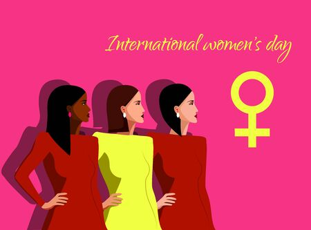 International Womens Day. Vector illustration with with different women. Struggle for freedom, independence, equality. vector