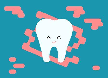 Tooth, with a sweet smile, a funny picture of the tooth for greeting cards on the day of the dentist Vector illustration Archivio Fotografico - 137259502