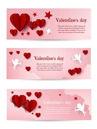 Valentines Day card design set. Cupid silhouette with bow and arrow. Pink white heart background. Flying Angel. Amur symbol of love for Valentine's Day Archivio Fotografico - 137271802