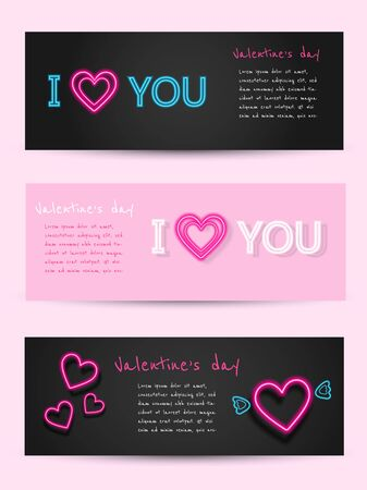 Valentine's day set of neon banners. Vector illustration. Fashionable design concept for Valentine's day greeting card sales promo text, decor and neon frame on black background. Vector illustration Archivio Fotografico - 137475964