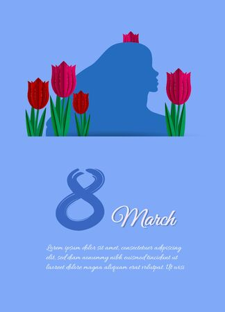 Card for women's day on March 8, female silhouette on a blue background. Tulips in paper style. Vector illustration. Archivio Fotografico - 137476511