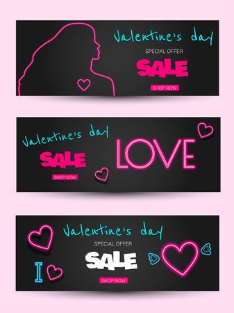 Valentine's Day is a proposal, a collection of neon-style banner templates. Set neon signs, posters for shop design, colorful banner, neon advertising, flyers, leaflets, brochures. Set discont banners for Valentine's day neon. Neon color Vector Archivio Fotografico - 137577094