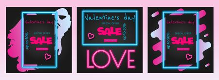 Valentine's Day is a proposal, a collection of neon-style banner templates. Set neon signs, posters for shop design, colorful banner, neon advertising, flyers, leaflets, brochures. Set discont banners for Valentine's day neon. Neon color Vector Archivio Fotografico - 137578380
