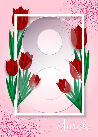 Happy women's day. Postcard for March 8. Glass number 8, red tulips in paper style. You can write a wish, poems. Modern design, minimalism, fashionable turquoise color and pink number 8 are perfectly combined. You can use it as a greeting card with wishes, as a background for a screen saver on your desktop. Archivio Fotografico - 137583905