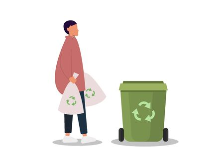 Sorting waste gender neutrality people, unisex, gender neutral clothing, hairstyle. A young girl, a young guy, takes out the trash, pants and sneakers isolated on a white background. Universal clothing and hairstyle unisex. Vector