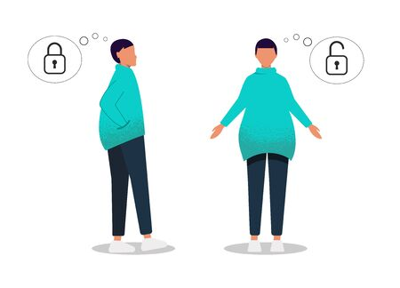 Gender neutrality people, unisex. The young man is closed from communication and the other is open to communication. Problems of socialization. Young girl, young guy, pants and sneakers isolated on white background. Universal clothing and hairstyle unisex. It shows how one person does not want to open up, and the other likes to communicate. Vector