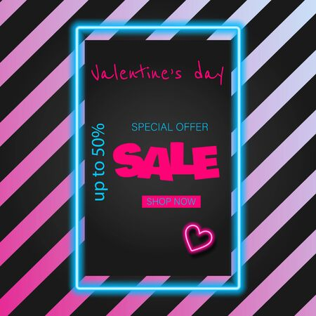 Glow Signboard Valentine's Day. Valentine's Day Sale banner. Valentine's Day Greeting Card Template. Shiny Neon Light Style Lettering. Holiday Flyer, Banner, Label. Vector 3d Illustration. Decorative Art Archivio Fotografico - 137775317