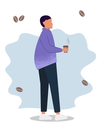 Coffee man. The man or woman with the coffee. Gender neutral young man in versatile clothing. cartoon concept Vector illustration Archivio Fotografico - 137775063