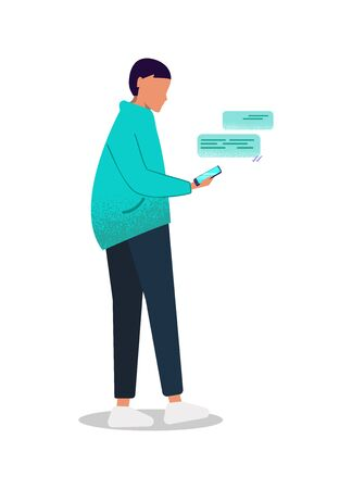 Young man with a phone. The man with the phone. A gender-neutral young man in versatile clothing writes messages in a smartphone. Isolate on a white background. Vector Ilustrace