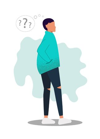 The man with the question. A gender-neutral young man in universal clothing is thinking about something. Character has a question, he is thinking about something and scratches his head.  イラスト・ベクター素材