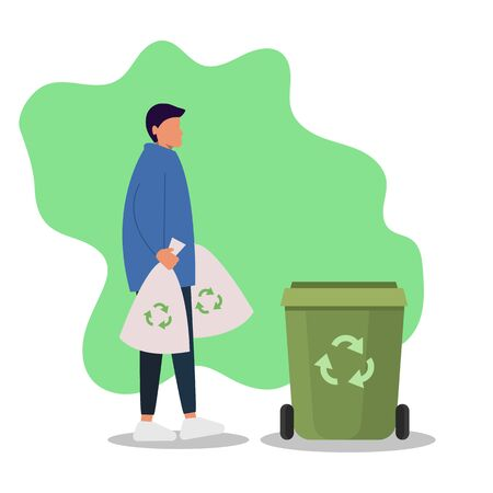 Sorting waste gender neutrality people, unisex, gender neutral clothing, hairstyle. A young girl, a young guy, takes out the trash, pants and sneakers isolated on a white background. Universal clothin vector Vettoriali