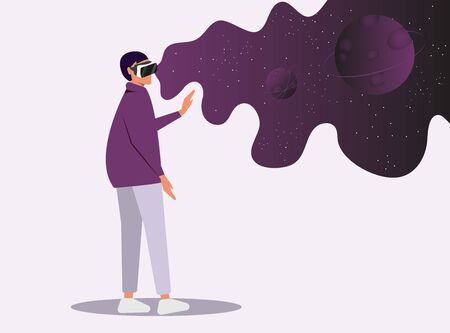 Cartoon Wom n Character Wearing VR Headset Glasses. Creation and Enjoyment Video about Space. Augment Reality and Imaginary Universe. Astronomy Studying. High Technology. Vector Flat Illustration Ilustracja