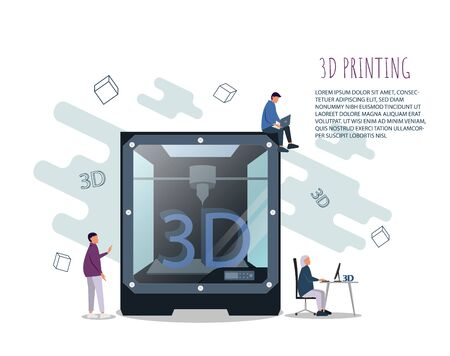 3D Printing Technology Concept. 3D Printer Equipment with Flat People, Characters and Computer. Prototyping Industry. Vector illustration
