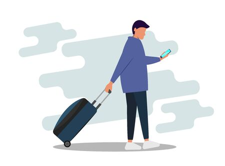 Young man with a suitcase. Flat vector illustration Çizim