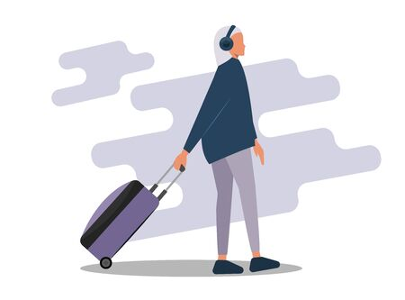 Young woman with a suitcase. A young blonde girl in universal clothing is walking with a travel suitcase. Flat vector illustration