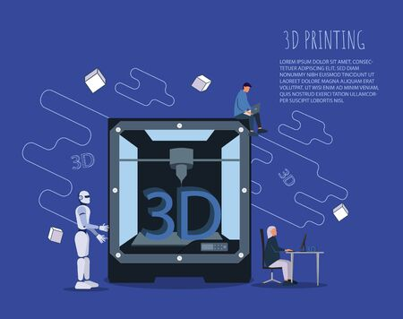 Engineers, designers and an artificial intelligence robot working on a new product, access to virtual reality and printing using a 3D printer: innovative product design and prototyping VECTOR . 向量圖像