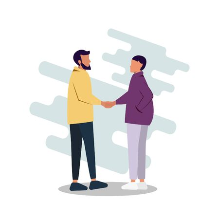 Vector illustration of a guy and a girl getting acquainted, shaking hands. Flat vector illustration. Modern design Vector Illustratie