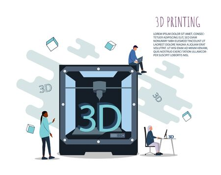 3D Printing Technology Concept. 3D Printer Equipment with Flat People, African american woman Characters and Computer. Prototyping Industry. Vector illustration