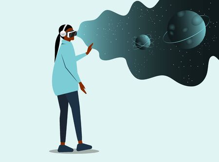 Cartoon African American woman Character Wearing VR Headset Glasses. place for text. Augment Reality and Imaginary Universe. Astronomy Studying. High Technology. Vector Flat Illustration