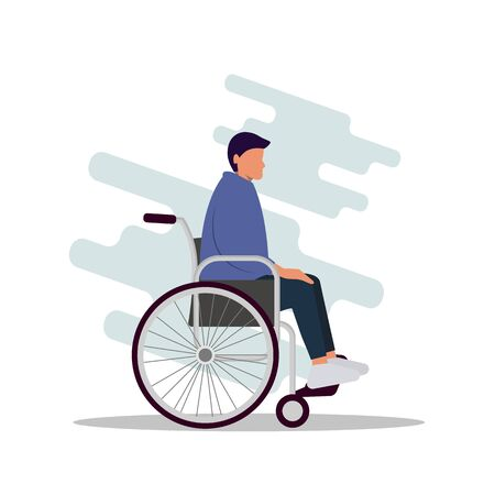 Young modern guy is sitting in a wheelchair. Vector illustration in flat cartoon style. Young disabled male character sitting in a wheelchair. Disability. Daily life. Flat editable vector illustration, clip art