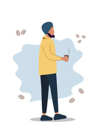 Friendship of an Indian man and hot coffee. Handsome Turkish man drinks traditional coffee - cartoon. Vector illustration