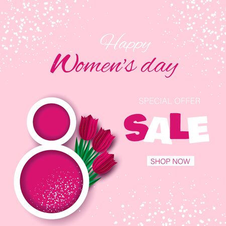 Discount banners for International Womens Day. March 8 sale, tulips on a pink background. 8 march, background, womens day banners, day flyer, design, womens day with flowers on red background. illustration
