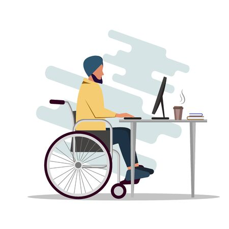 Indian man is sitting in a wheelchair and working at a computer. A disabled person works in an office. Vector illustration Zdjęcie Seryjne - 138532285