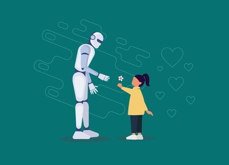 Robotic friend for a little girl flat. Robot holding a little girl hand. Futuristic assistant, nanny for children of a linear nature. The invention of artificial intelligence for child safety. Vector