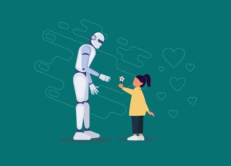 Robotyczny przyjaciel dla małej dziewczynki mieszkanie. Robot trzyma małą rękę dziewczynki. Futurystyczny asystent, niania dla dzieci o charakterze liniowym. Wynalezienie sztucznej inteligencji dla bezpieczeństwa dzieci. Wektor