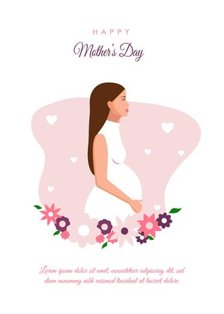 International Mothers Day. Background with silhouette of pregnant woman. Womens Day. Young pregnant woman. Womens background for stories, banner, mothers background. Pale pink and white shades. Vector illustration