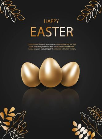 Golden easter egg with decorative elements illustration. Happy easter background, easter design. Copy space text area, vector illustration.