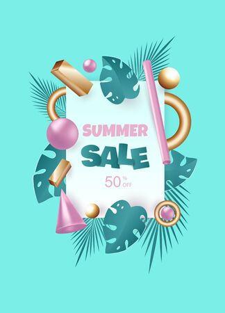 3d background. 3d rendered illustration with flying geometric shapes and tropical leaves. Background for product design or text presentation layout. Balls, cylinders, pink and metallic silver. Summer discount banner. Vector template for posters, banners, flyers and presentations. EPS 10 illustration.