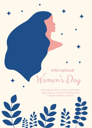 Happy International Women's Day on March 8th design background. Illustration of woman's face profile with retro style makeup. vector. Ilustração