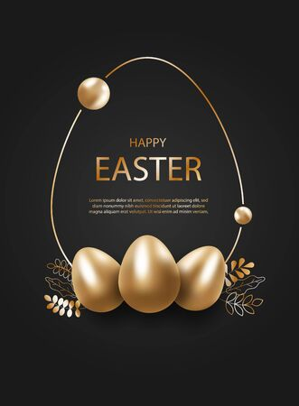 Happy easter, gold eggs, easter background, easter design, easter with mirror reflection of eggs on black backdrop, place for text. Abstract silver egg. Gift card template. Vector illustration Ilustração