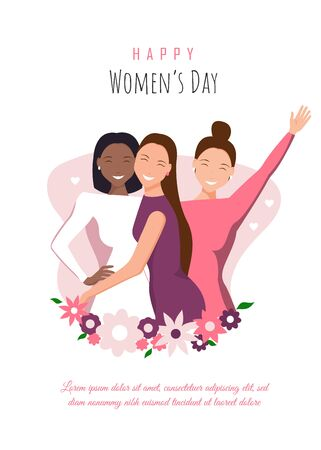 Happy womens day illustration. March 8, International Women's Day. Happy girls hugging. African american woman. Love between the girls. 8 march, womans day. Vector illustration