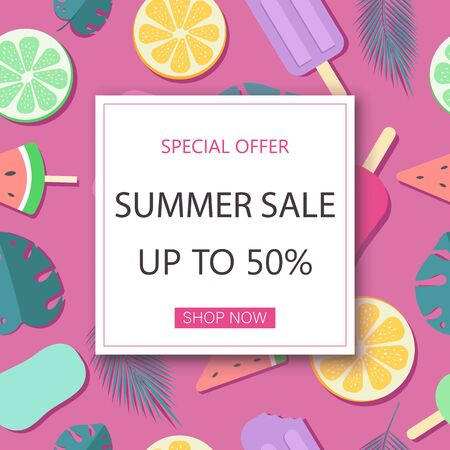 Summer sale banner. Summer background, summer discount banner. Ice cream pattern. Watercolor vector background