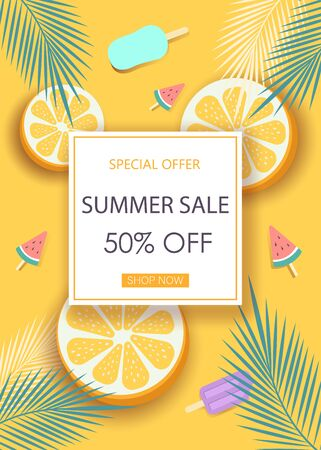 Super sale banner with symbols for summer time such as oranges, ice-cream.Vector illustration of discount template card, summer wallpaper, summer flyer, invitation, poster, summer brochure, voucher.