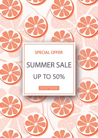 Orange and grapefruit fruits on the blue wooden background with frame and text Summer Sale. Eps 10 vector file. 矢量图像