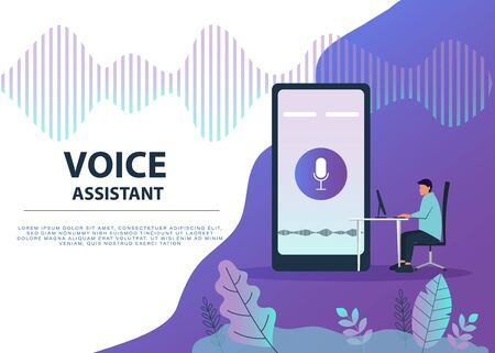 Male character using voice control for his phone. Isolated vector illustration of voice remote with character and phone. Ilustração