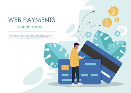 mobile payment or money transfer concept. E-commerce market shopping online illustration with tiny people character. template for web landing page, banner, presentation, social media, print media.