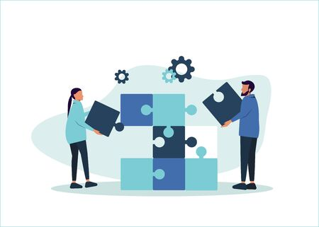 Business concept. Team metaphor. People connecting puzzle elements. Vector illustration of a flat design style. Symbol of teamwork, collaboration, collaboration.