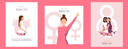 Set womens day backgrounds. International Women's Day. Vector template with lettering design. Vector illusttation.