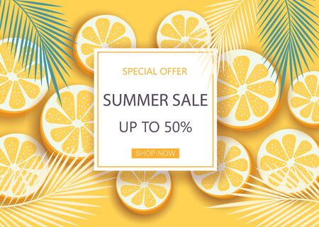 Super sale banner with symbols for summer time such as oranges. Vector illustration of discount template card, summer wallpaper, summer flyer, invitation, poster, summer brochure, voucher.